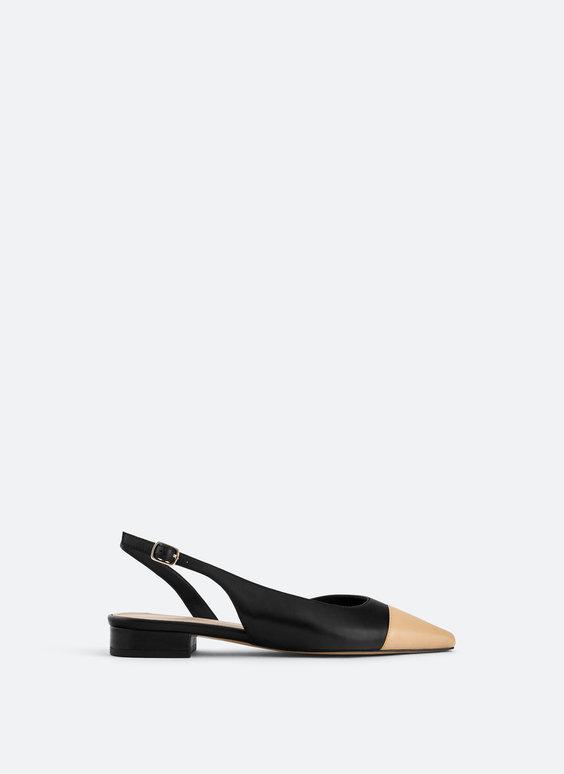 Flat slingbacks with contrast toe