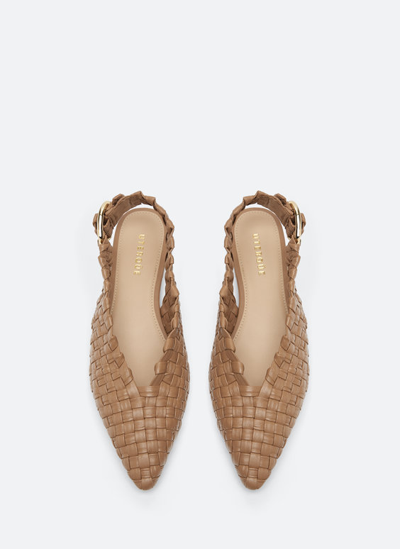 Flat woven leather slingbacks