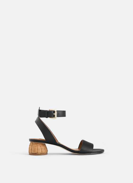 Leather sandals with raffia heel