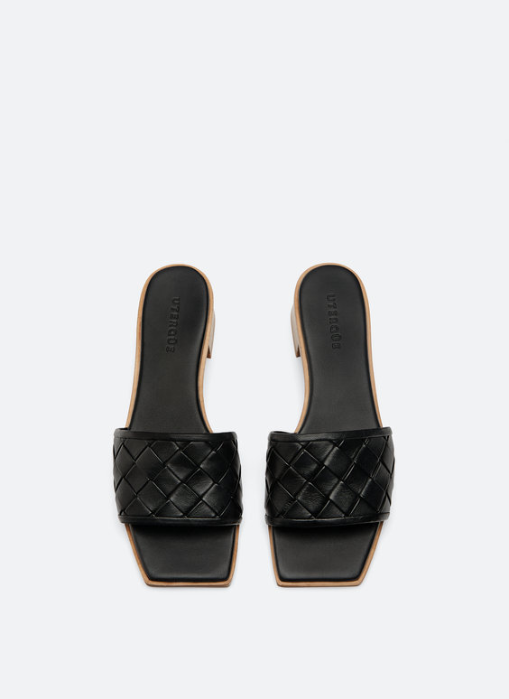 Woven leather mules