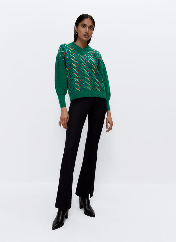 Flared trousers with slit detail
