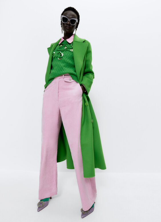 Corduroy trousers with rhinestone buttons