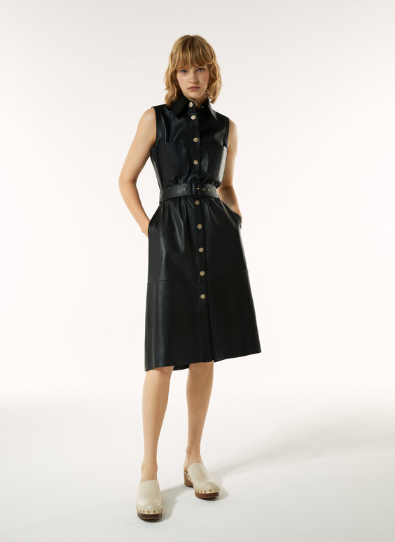 Sleeveless leather dress