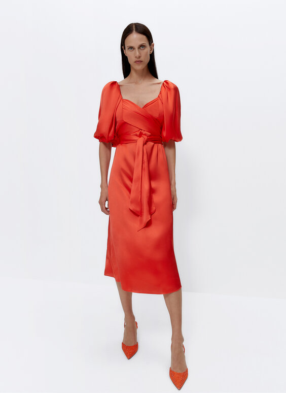 Satin dress with bow