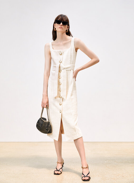 Dress with fringing and faux pearl buttons