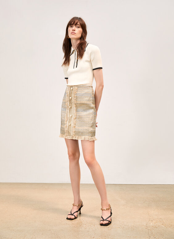 Embellished woven leather skirt