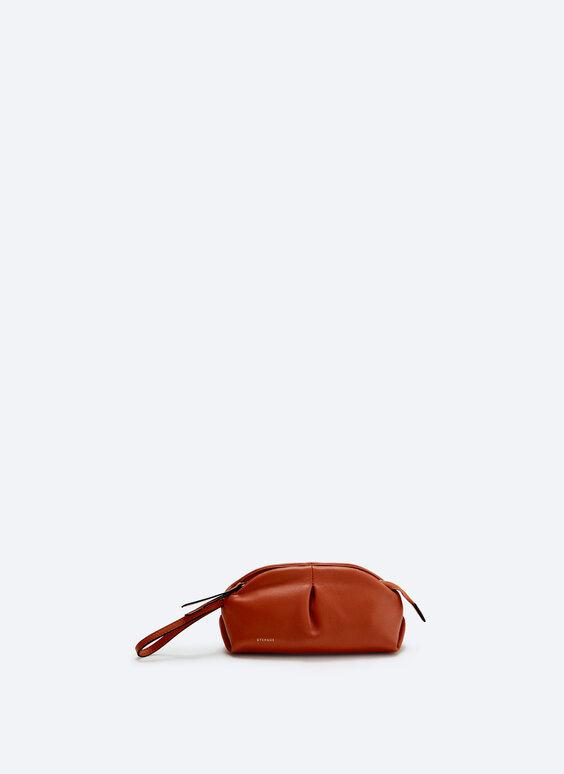 Gathered leather mini bag