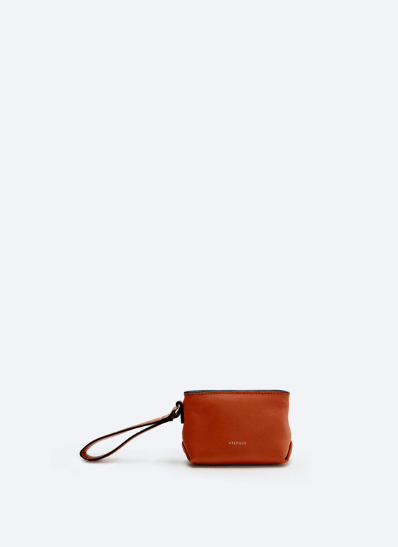 Leather purse with handle