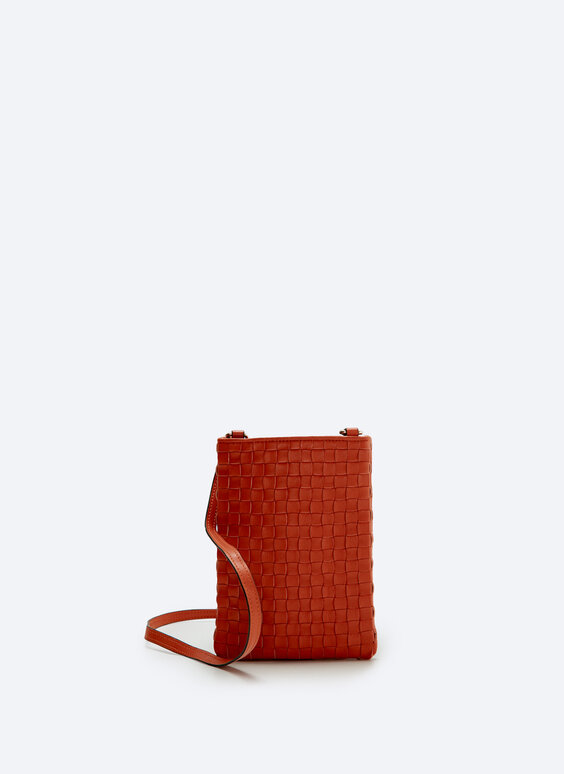 Braided leather mobile phone bag