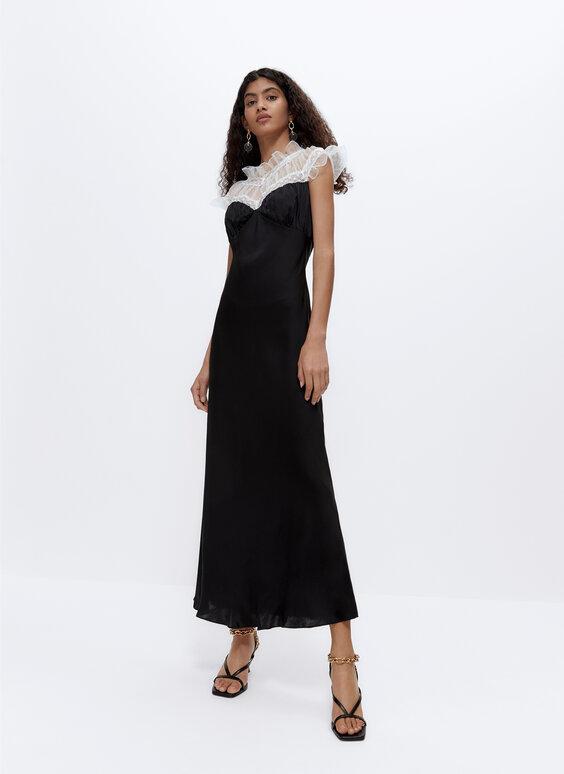 فستان بطراز لانجري من الحرير والأوركانزا