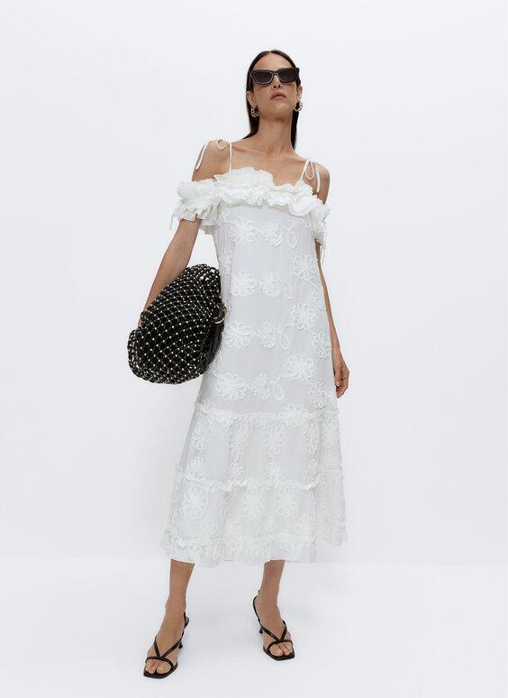 Платье с цветочным принтом и кружевной вышивкой