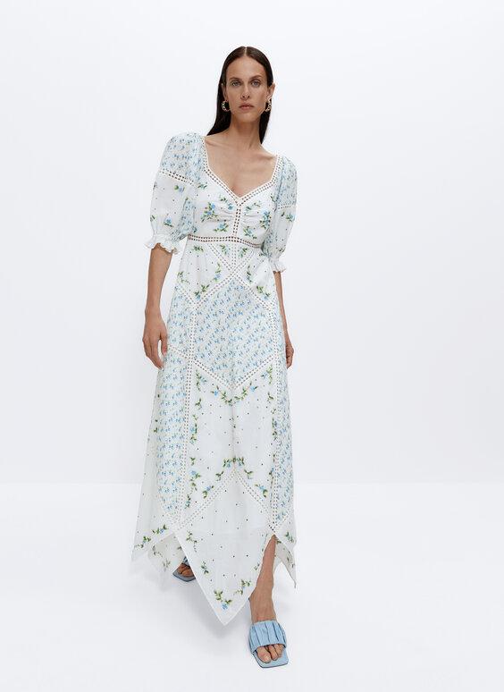 Платье с цветочным принтом деталями из гипюра