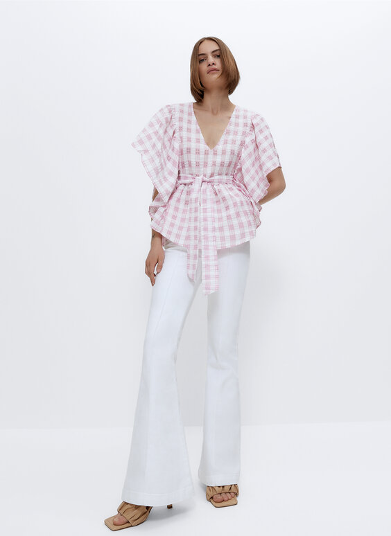 Gingham shirt with bow