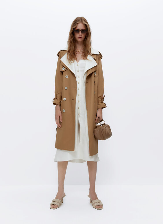 Contrast double trench coat