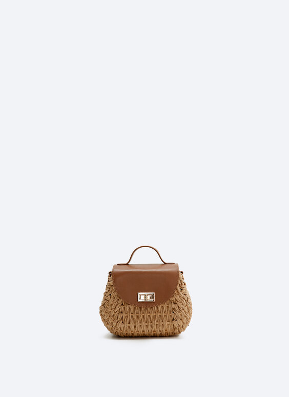 Tote bag with leather flap