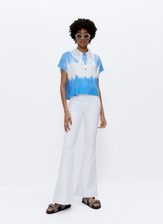 Tie-dye polo shirt with crochet collar