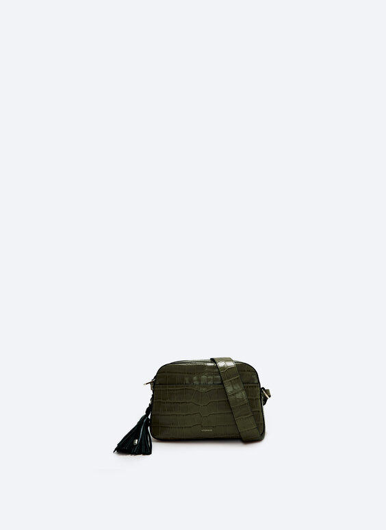 Leather bag with tassel