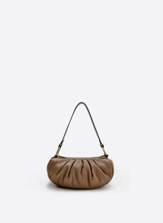Leather pleated bag