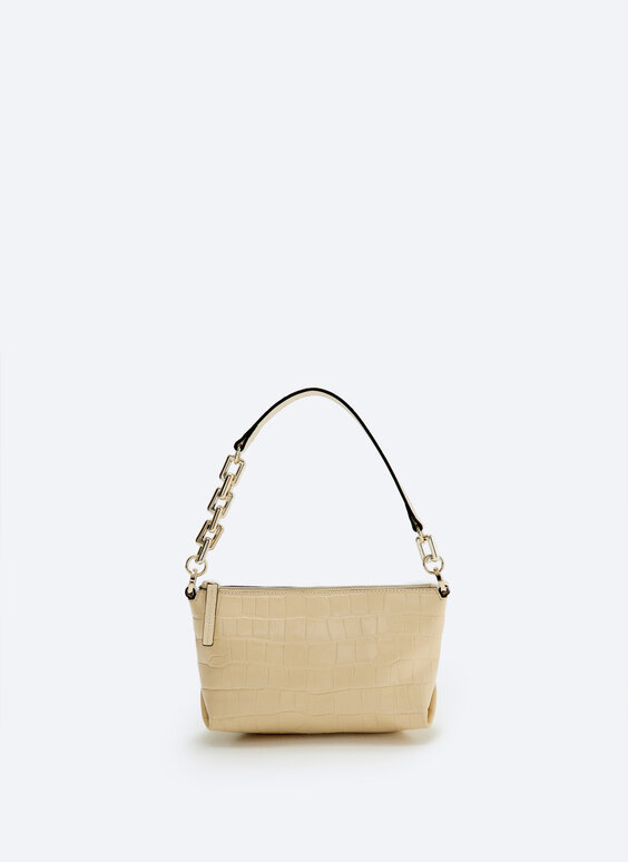Cloud mock croc leather bag with chain