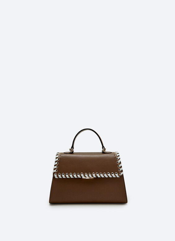 Leather city bag with eyelets
