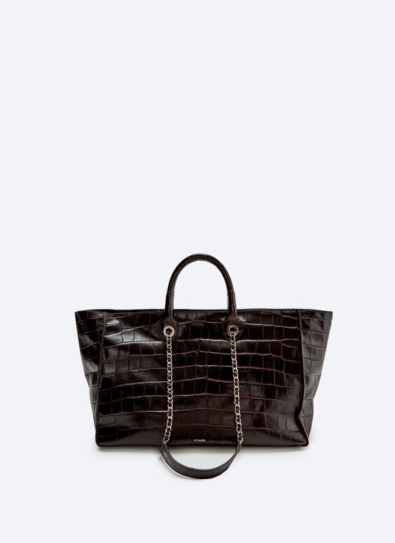 Tote bag with mock croc leather chain strap