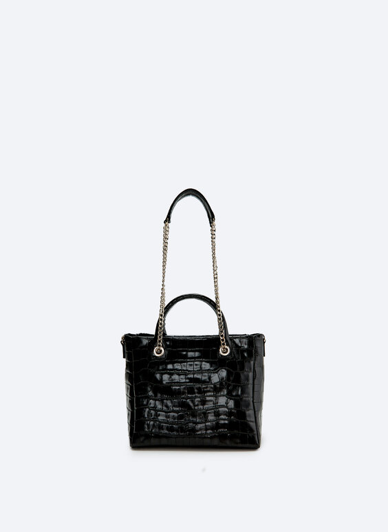 Leather tote bag with a mock croc finish