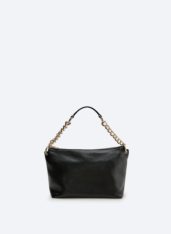 Grain leather bag with chain