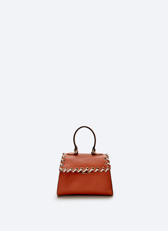 Small leather city bag with eyelets