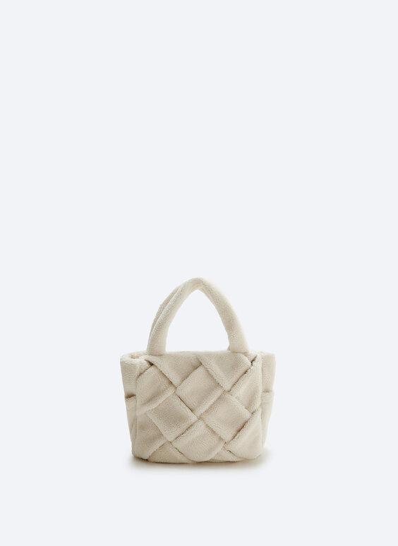 Faux shearling tote bag