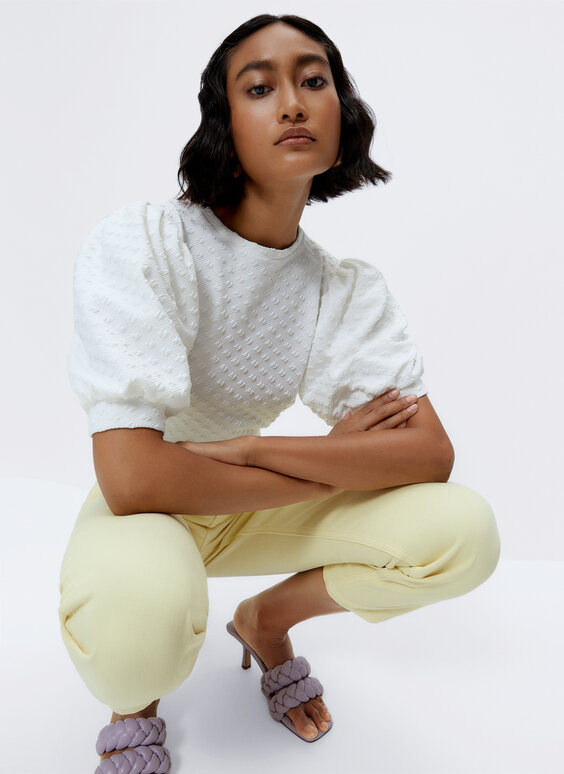 Waffle-knit top with puff sleeves