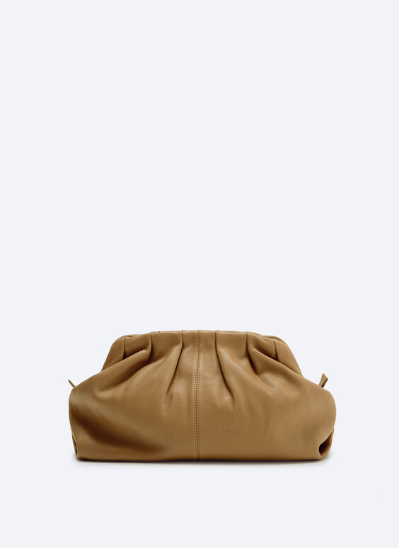 Leather handbag with gathered detail