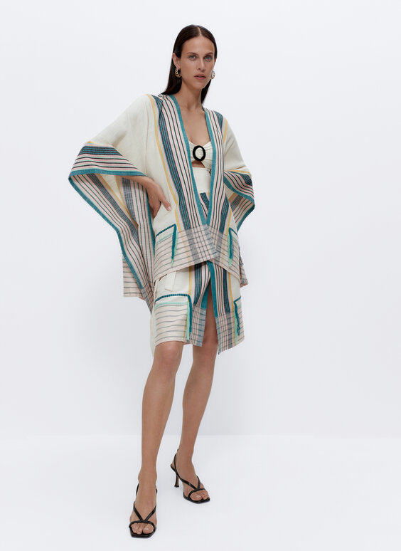 Summer poncho with coloured stripes