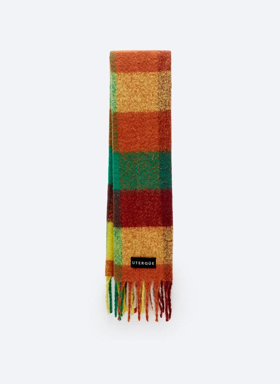 Bright-coloured checked scarf