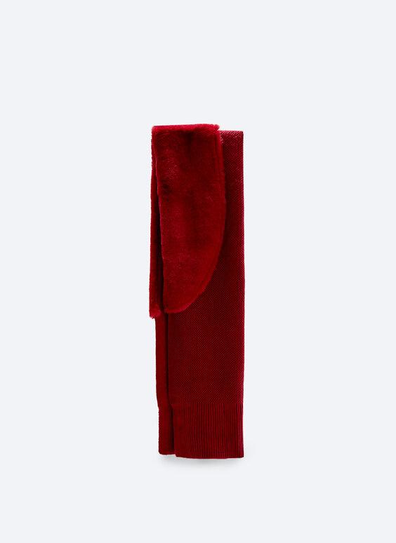 Sciarpa combinata in maglia e pelliccia sintetica