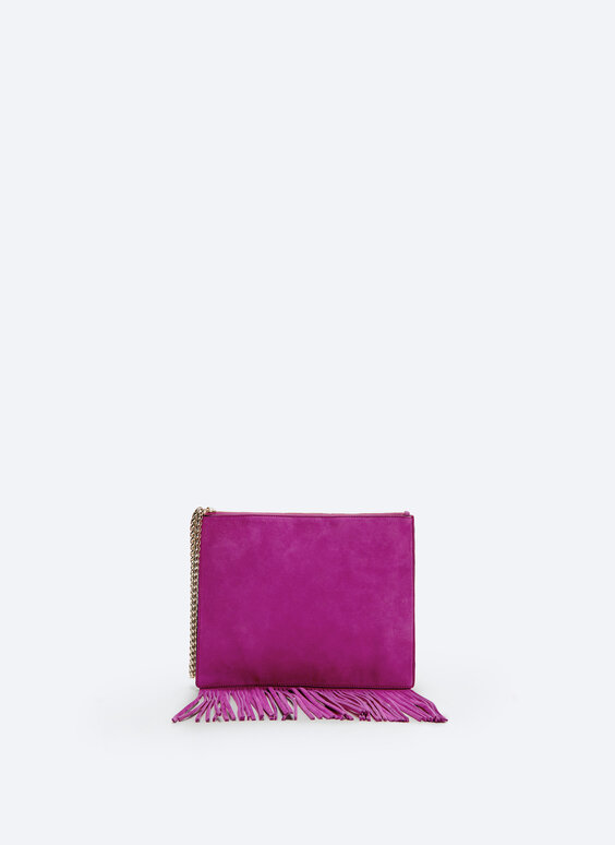 Leather clutch with fringe