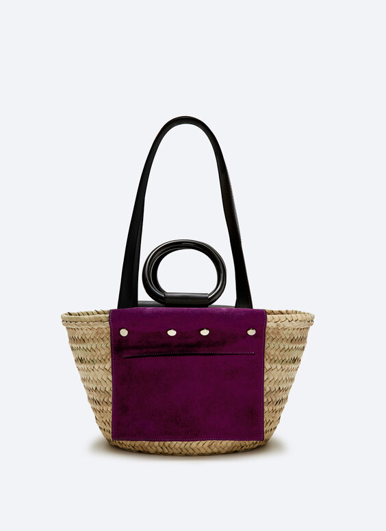 Leather and suede tote bag