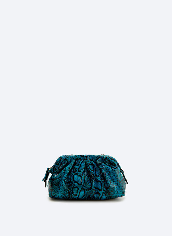 Snakeskin-print leather bag with gathered detail