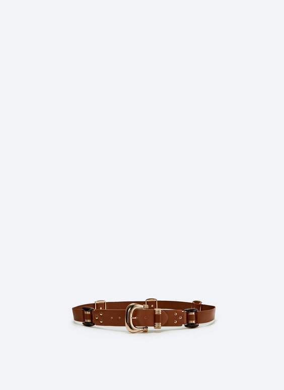 Leather belt with tortoiseshell buckle