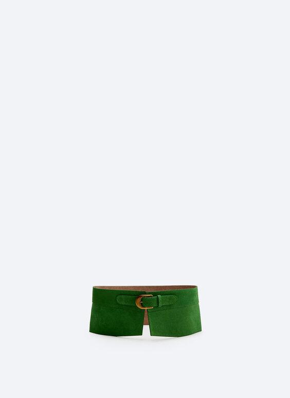Straight split suede sash belt