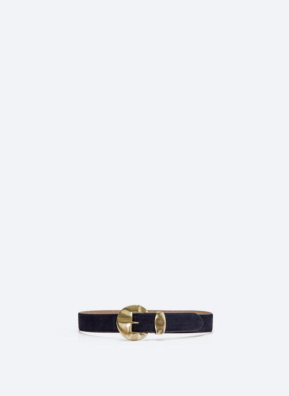 Split suede belt with metallic buckle