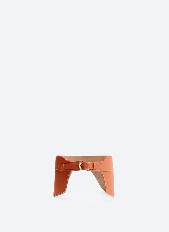 Tumbled leather sash belt