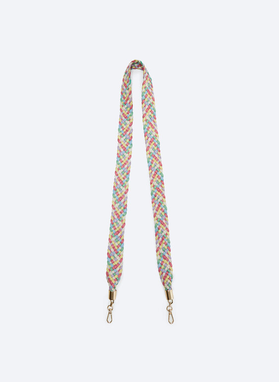Woven multicoloured leather handle