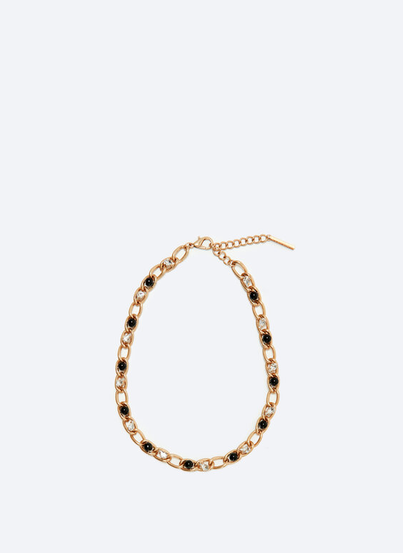 Fine chain necklace with faux pearls