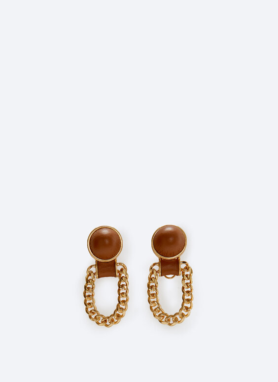 Chain earrings lined with leather