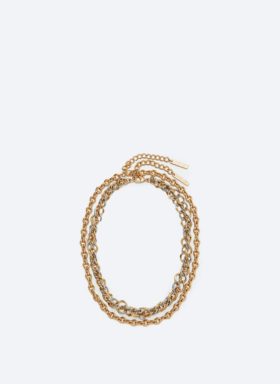 Multi-strand necklace with two contrast chains