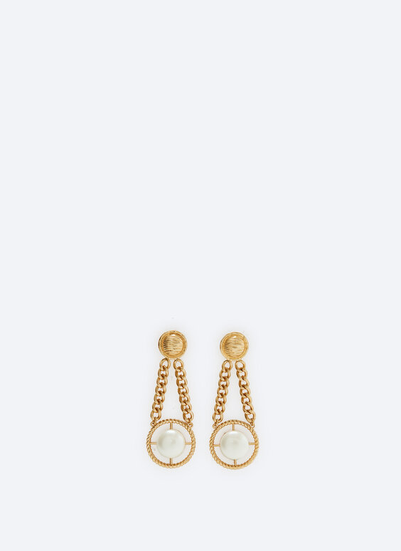 Faux pearl earrings with chains