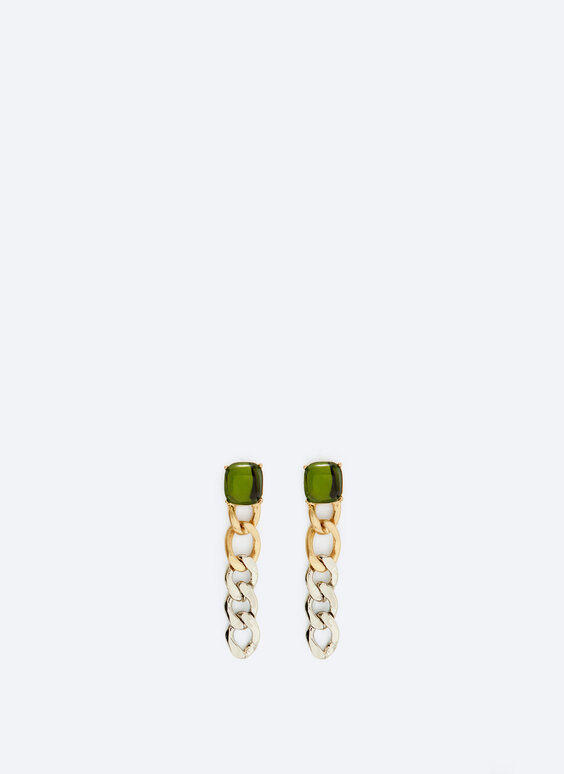 Contrast chain earrings with stone detail
