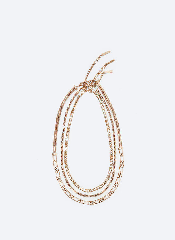 Multi-strand chain necklace with separate clasps