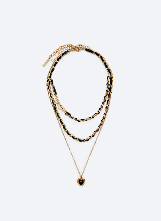 Multi-strand chain necklace with loops and heart