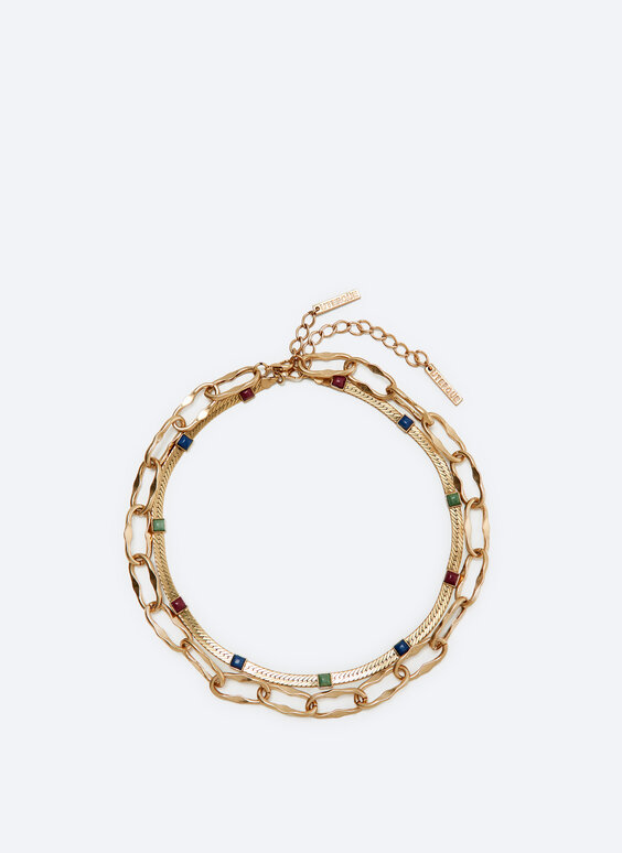 Double-strand necklace with coloured crystals
